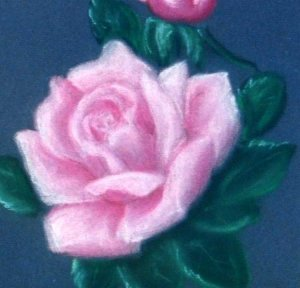 Vintage Rose in Oil Pastels on Blue Paper Matted