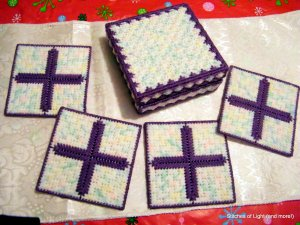 Purple and Pastel Christian Easter Coasters