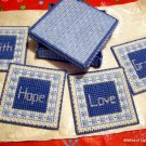 Blue Plastic Canvas Faith, Hope, Love, Grace Coasters in Box