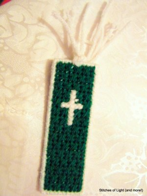 Green and White Plastic Canvas Cross Bookmark