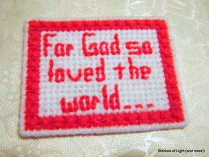 Red and White Plastic Canvas Bible Verse Magnet For God so Loved the World