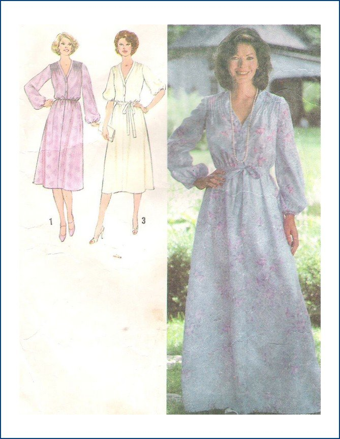 Vintage Simplicity 8827 Sewing Pattern Misses Dress Gown  Size 14