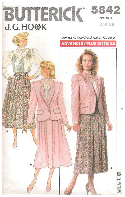 Butterick 5842 Misses Jacket Blouse Skirt Pattern J G Hook Uncut Size 6 8 10