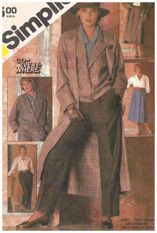 Simplicity 6576 Vintage Pattern Misses Go Everywhere Coat Separates Size 12 Uncut