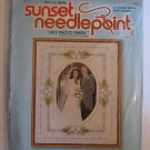 Vintage Needlepoint Kit Lace Photo Frame for Wedding Sunset Factory Sealed