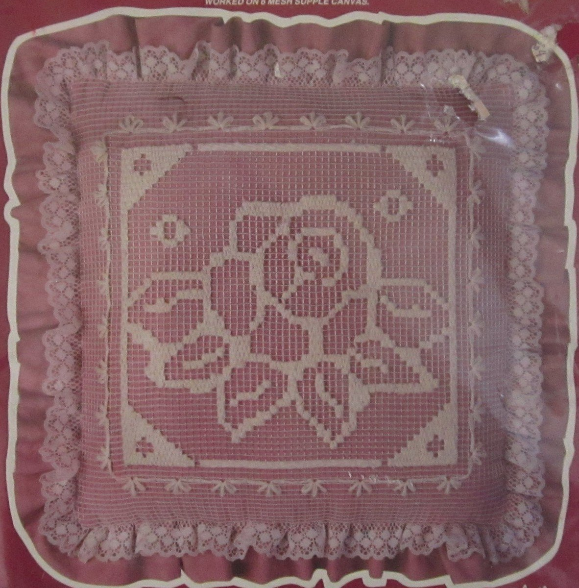 Vogart Net Darning Kit Victorian Rose Pillow Factory Sealed