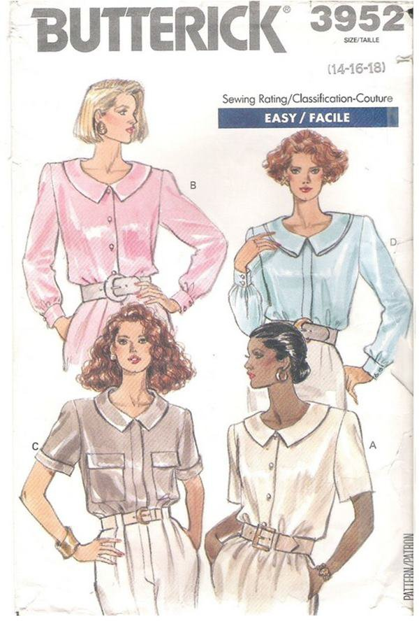 Butterick 3952 Sewing Pattern Misses Loose Fitting Blouse with Collar Variations Size 14 16 18