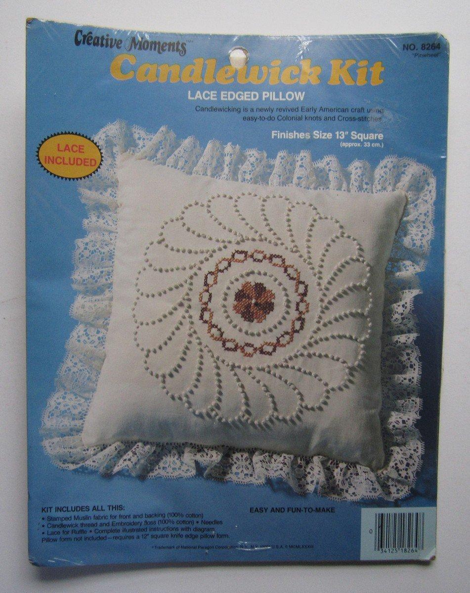 """Vintage Candlewicking Kit Lace Edged Pillow 13"""" Factory Sealed """"Pinwheel"""""""