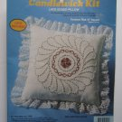 "Vintage Candlewicking Kit Lace Edged Pillow 13"" Factory Sealed ""Pinwheel"""