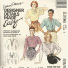 McCalls 5296 Sewing Pattern Womens Loose Fitting Pull Over Blouse Palmer Pletsch Size 8 UNCUT