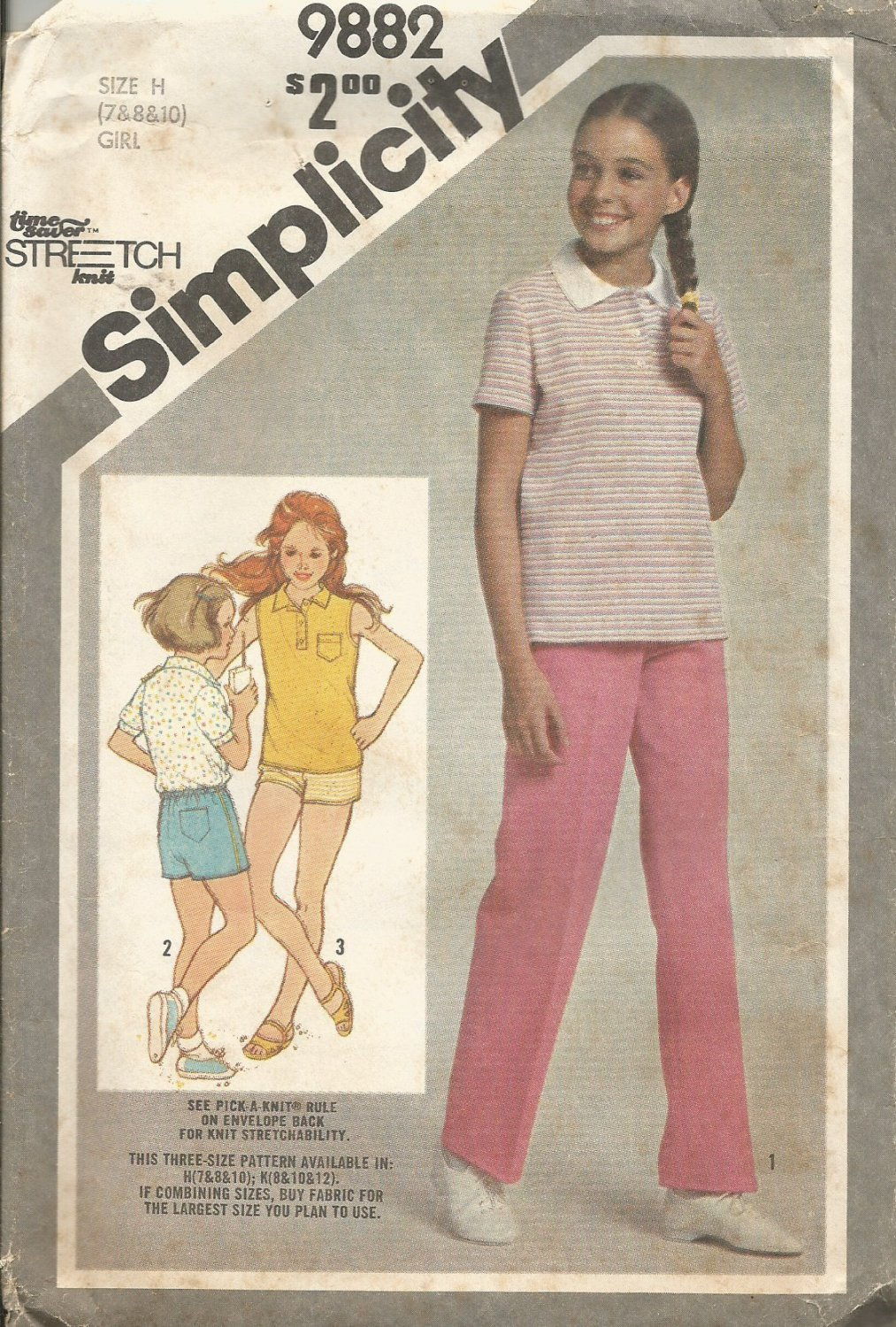 Vintage Uncut Pattern Girls Pullover Top Pull On Shorts Pants Size 7 8 10 Simplicity 9882