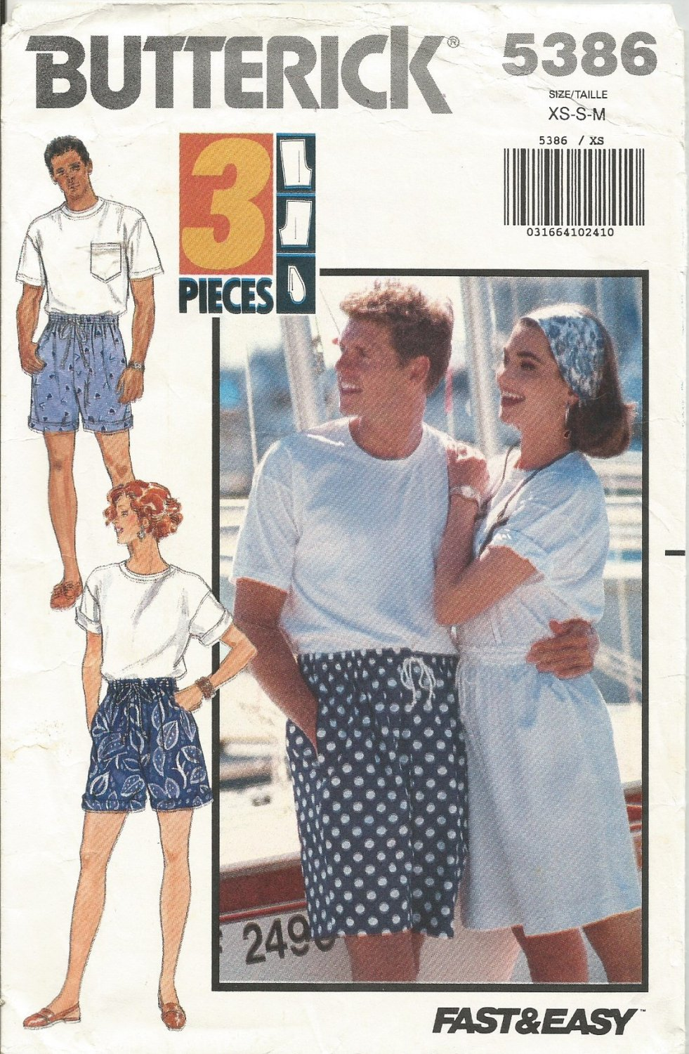 Vintage Butterick 5386 Pattern Mens And Womens Very Easy Shorts Size XS S M Uncut