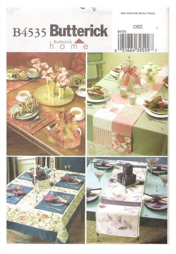 Butterick B4535 Uncut Sewing Pattern Table Runners Place Mats Napkins