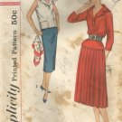 Vintage 1950's Pattern Simplicity 2388 Juniors 2 Piece Dress Detachable Vestee Size 11
