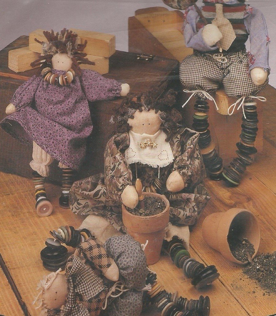 """SALE PENDING UNCUT Doll Pattern Benjamin Button Family  8"""" and 11"""" Button Dolls  Leg O' Button 141"""