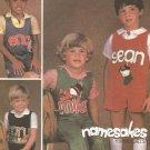 McCalls 8867 Vintage Children's Jumpsuit Pattern with Name Applique Size 5 Uncut