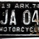 MOTORCYCLE license PLATE Arkansas 1978 excellent condition includes insurance