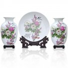 Fine porcelain vase and plate set 3 in 1(jdp003)