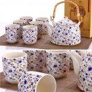 High qualityblue floral porcelain teapot set plus free gift jade bracelet