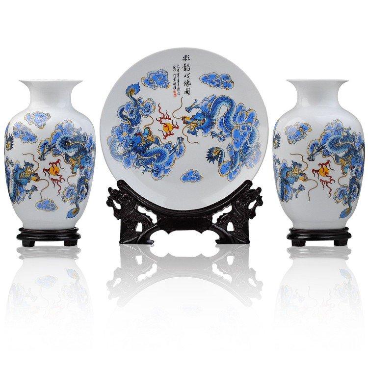 Fine porcelain vase and plate set 3 in 1[jdp008]