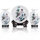 Fine porcelain vase and plate set 3 in 1[jdp009]