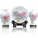 Fine porcelain vase and plate set 3 in 1[jdp0011]