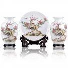 Fine porcelain vase and plate set 3 in 1[jdp0012]