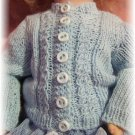 Cabled Cardigan for Bleuette Knitting Pattern