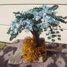 Beaded tree, blue, white & green