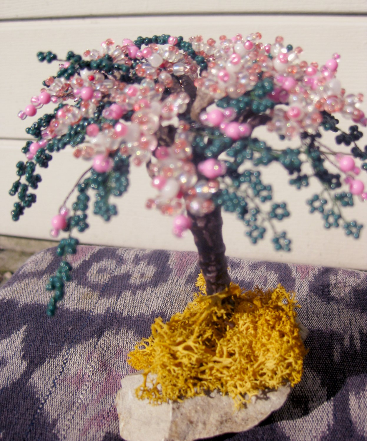 Beaded tree, pink, white & green