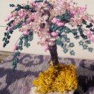 Beaded tree, pink, white & green