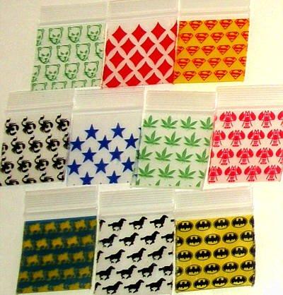 "1000 Mixed Design Baggies 1.5 x 1.5"" Mini Ziplock Bags 1515"