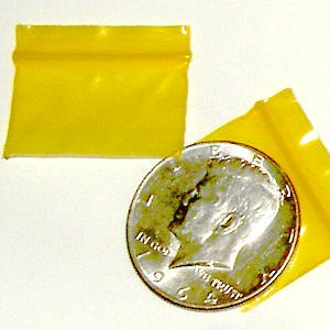 "200 Yellow Baggies 1.25 x 0.75"" small ziplock bags"