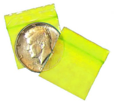 100 Yellow Baggies 12510 mini zip lock bags 1.25 x 1 inch