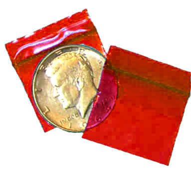 200 Red Baggies 12510 ziplock bags 1.25 x 1 inch