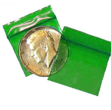 200 Green Baggies 12510 ziplock bags 1.25 x 1 inch