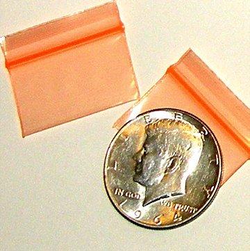 200 Orange Baggies 12534 ziplock bags 1.25 x 0.75 inch