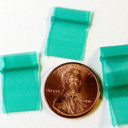 200 Baggies 1212 Green 0.5 x 0.5 inch small ziplock bags