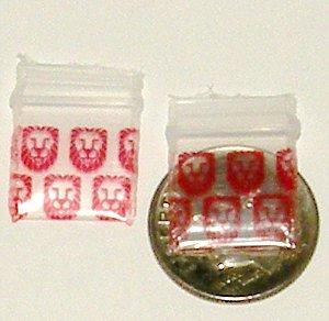 "200 Red Lions Baggies Small Ziplock Bags 0.5 x 0.5"""