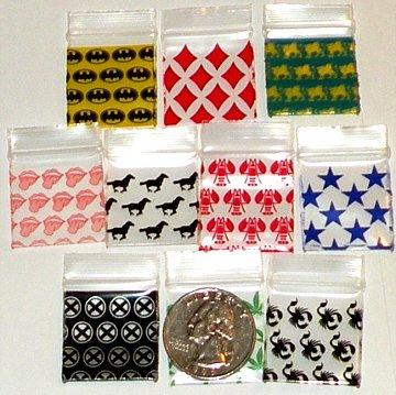 10,000 Mixed Designs 1010 Baggies 1 x 1 in. Small Ziplock Bags