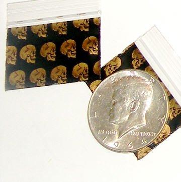 "100 Skulls Apple Baggies 1510,  1.5 x 1"" zip lock bags"