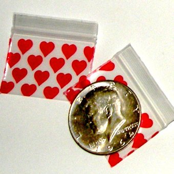"200 Red Hearts Baggies 1510,  1.5 x 1"" ziplock bags"