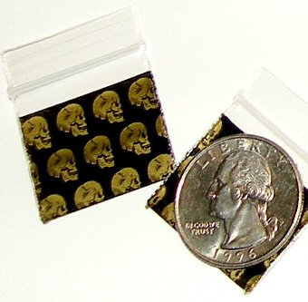 "Skulls 100 Apple Baggies 1010  small zip lock bags 1 x 1"" B2G1 Free"