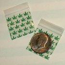 "200 Green Leaves Baggies 1.5 x 1.5"" Small Ziplock Bags 1515"