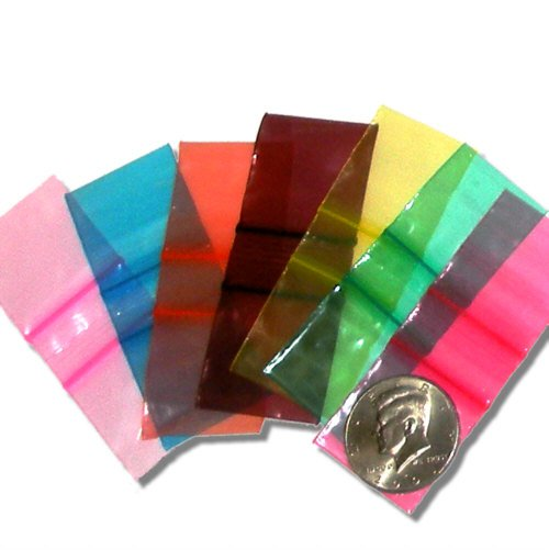 100 Assorted Color Apple Baggies 1.25 x 1.25 inch Small Zip Bags 125125