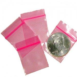 200 Pink Baggies 1.25 x 1.25 inch Small Ziplock Bags
