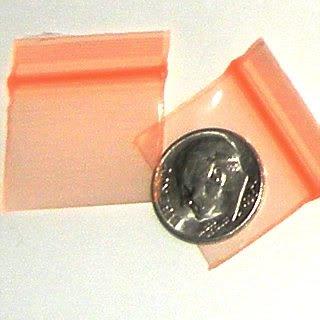 "100 Orange Apple Baggies 1 x 0.75""  Small Zip Bags 1034"