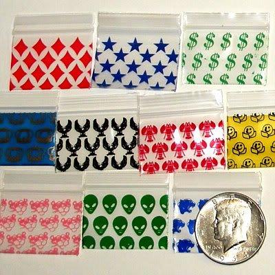 """1000 Mixed Design Baggies 1510,  1.5 x 1"""" ziplock bags"""