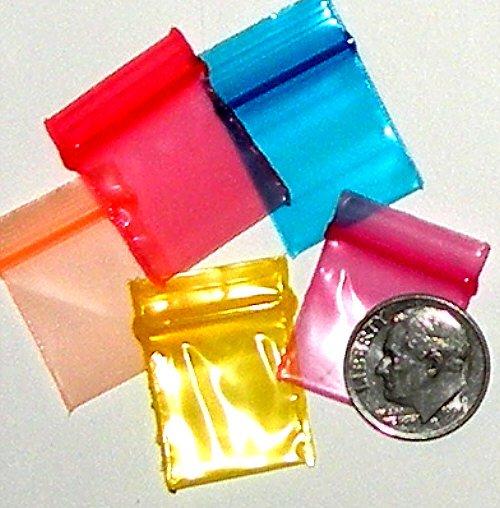 "200 Rainbow Colors Baggies 3434 ziplock 0.75 x 0.75"" Apple Brand"
