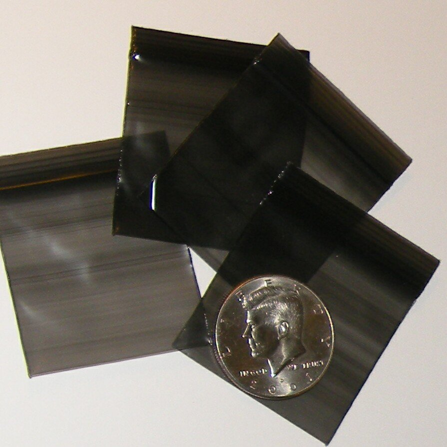 "200 Black Baggies 1.75 x 1.75"" Small Ziplock Bags 175175"